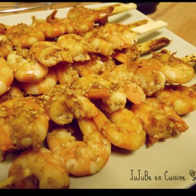 Brochettes de crevettes & sésame (Dukan)