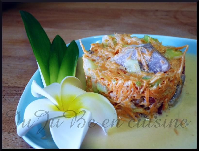 recette de la salade tahitienne (thon, crudités, lait de coco)