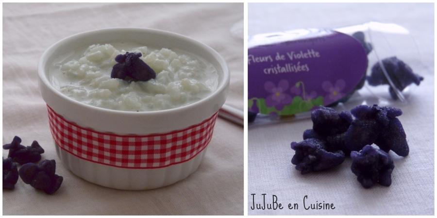Riz au lait aux fleurs de violettes cristallisées | Jujube en cuisine