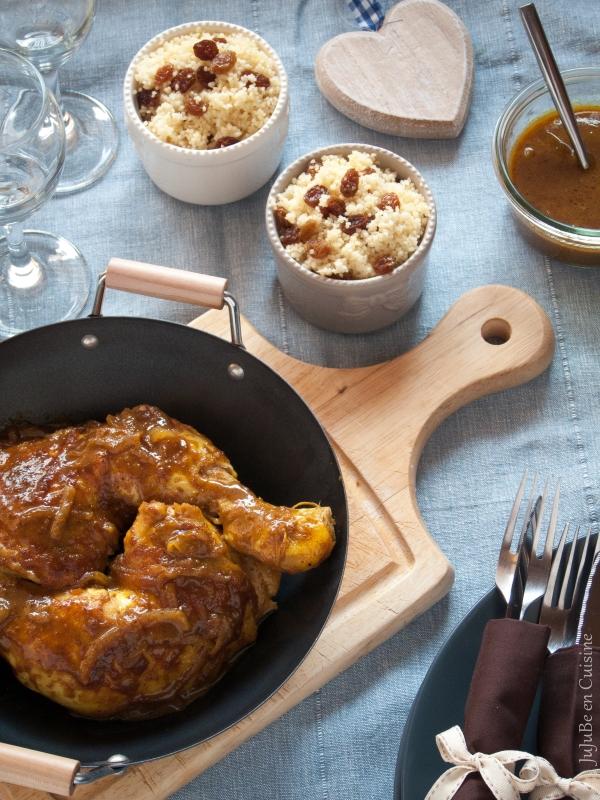 Poulet au miel, ras el hanout, moutarde et huile de sésame