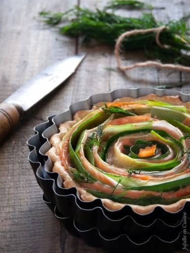 """Tarte légère """"tourbillon"""" saumon fumé et poireau (sans oeuf)"""