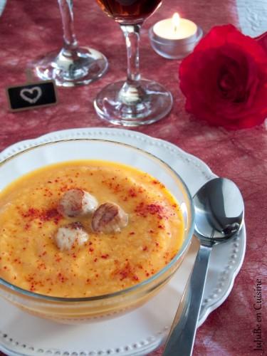 Veloute de carottes et noix de saint Jacques