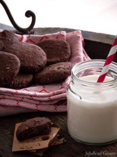 Cookies au chocolat, noix de cajou et flocons de millet (sans beurre, sans lait, sans oeuf - Vegan)