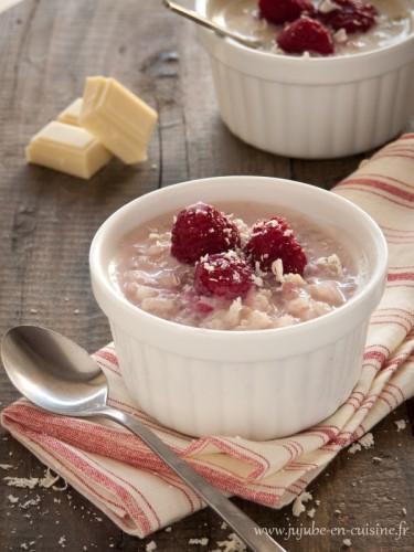 Riz au lait framboises et chocolat blanc