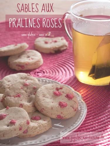 Sablés aux pralines roses (sans gluten - sans œuf)