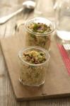 Taboulé au  quinoa concombre tomates séchées et graines de tournesol