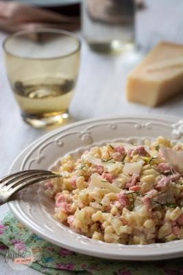 Coquillettes façon risotto (saumon et poireau)