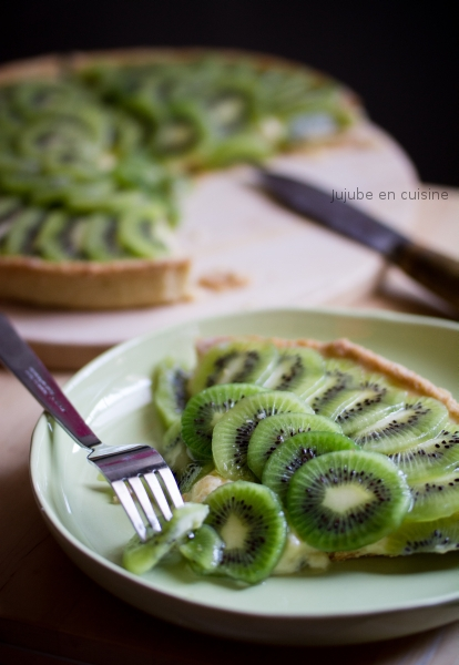 Tarte au kiwi (et crème pâtissière au combava)
