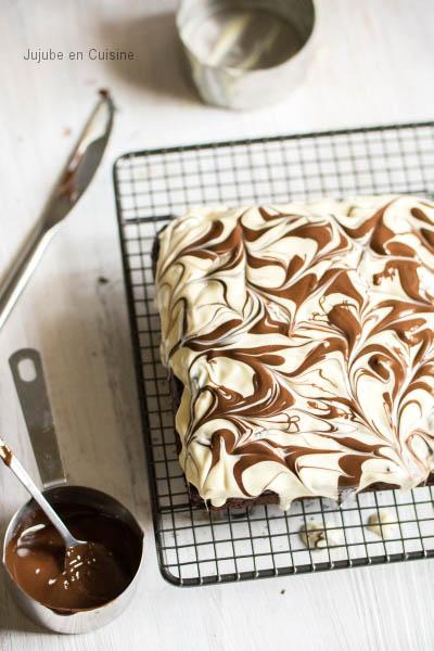Un brownie nappé furieusement marbré {Battle Food #17}