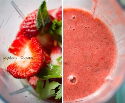 Smoothie à la fraise - Avant & Après
