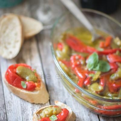 Poivrons marinés à l'huile d'olive (ail et basilic)