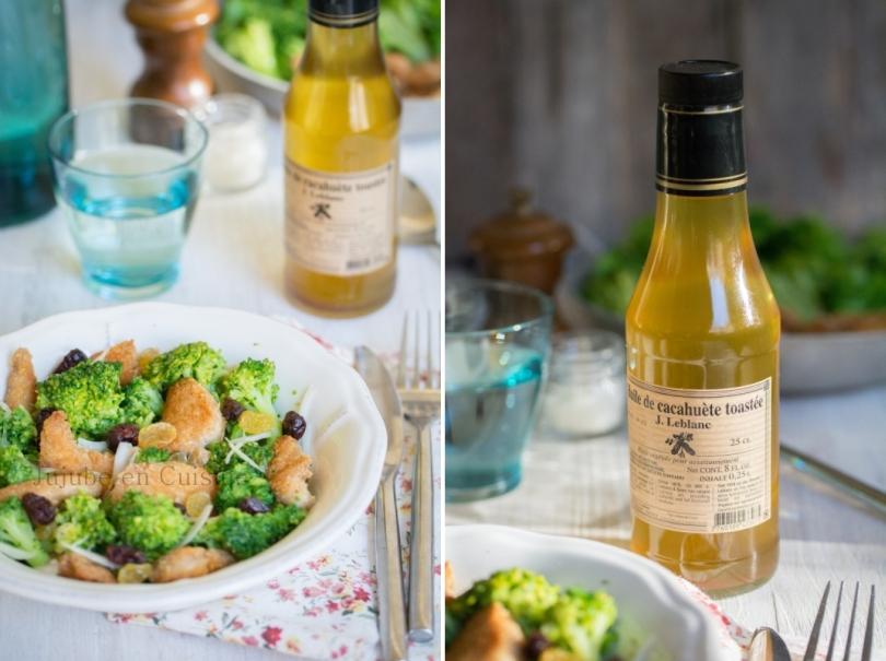 Salade de brocolis, poulet pané et canneberges séchées