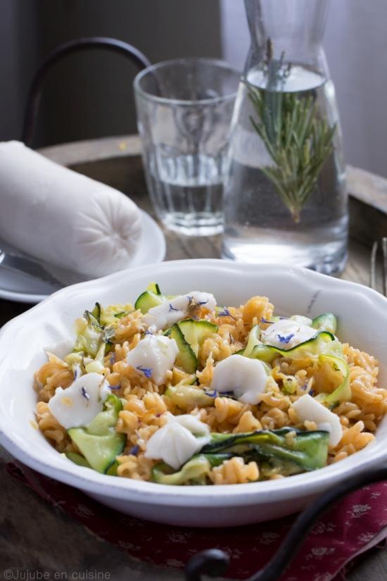 Pâtes courgette et mozzarella végétale