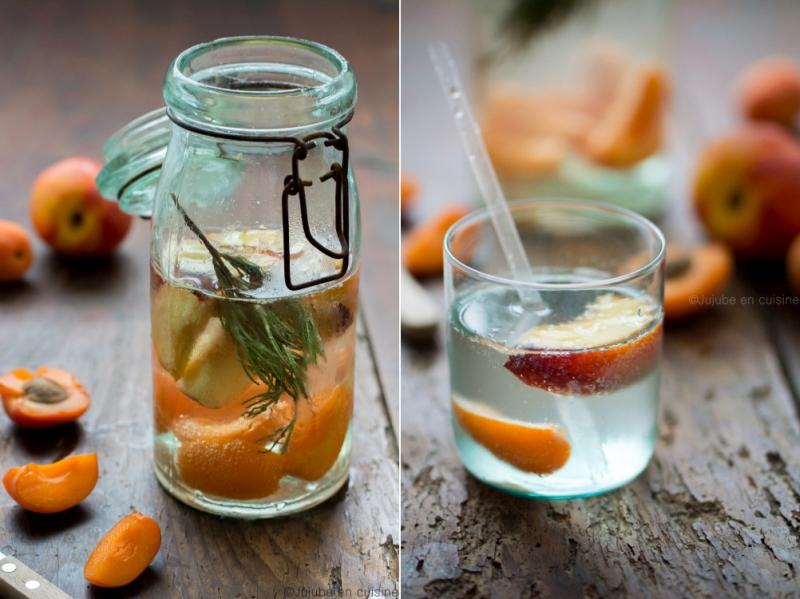 Detox water / eau aromatisée nectarine abricot romarin