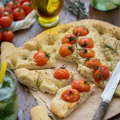 Focaccia tomates romarin et fleur de sel