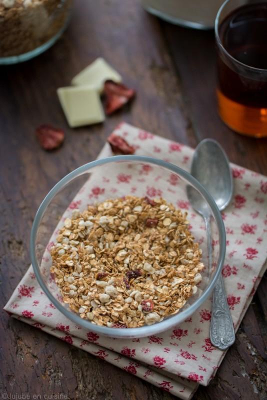 Granola/muesli fraises séchées-chocolat blanc | Jujube en cuisine