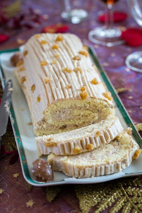 Bûche pâtissière à la mousse de crème de marron (gâteau roulé) | Jujube en cuisine