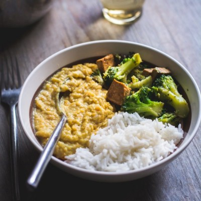 Tofu mariné, champignons et brocoli