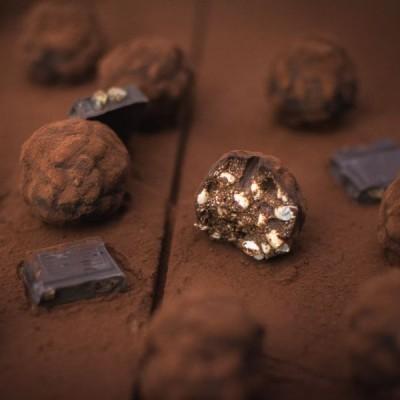 Truffes ou rochers au chocolat (citron gingembre) et riz soufflé
