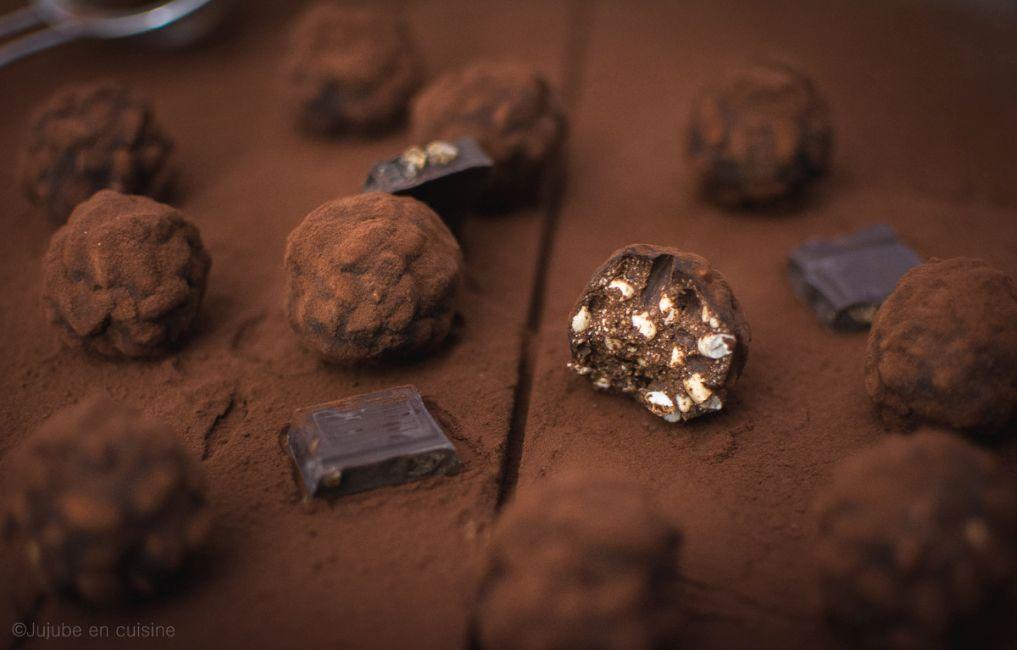 Truffes ou rochers au chocolat (citron gingembre) et riz soufflé | Jujube en cuisine