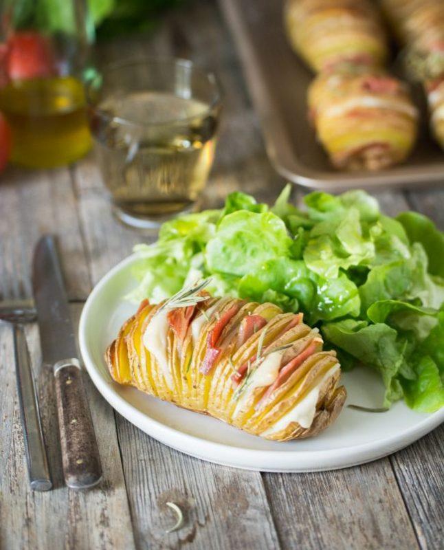 Pommes de terre rôties à la suédoises (Hasselback potatoes) au gouda et bacon | Jujube en cuisine