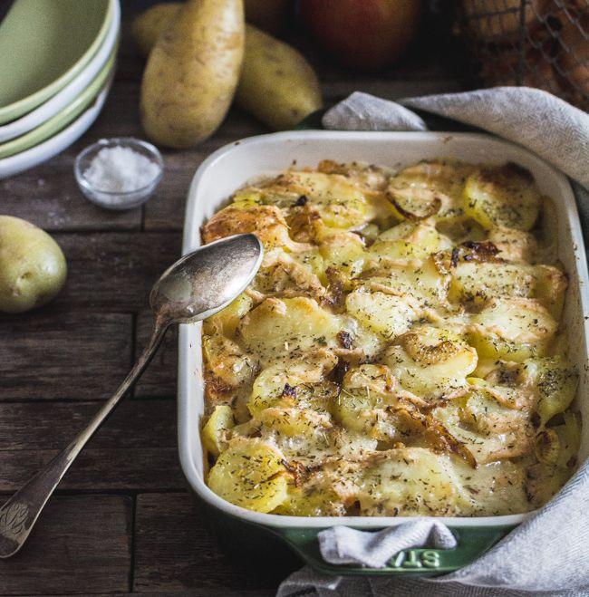 Gratin de pommes de terre, pomme et munster (comme une tartiflette)