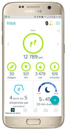 Tableau de bord de l'application Fitbit | Mon avis sur la Fitbit Charge 2 | jujube en cuisine