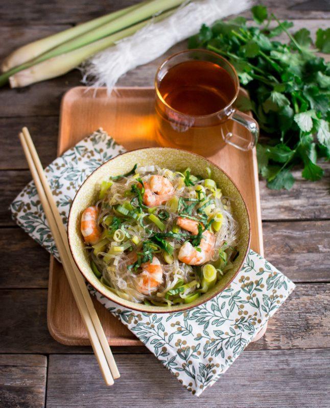 Comme un One pot pasta : Vermicelles, crevettes, bouillon citronnelle et gingembre