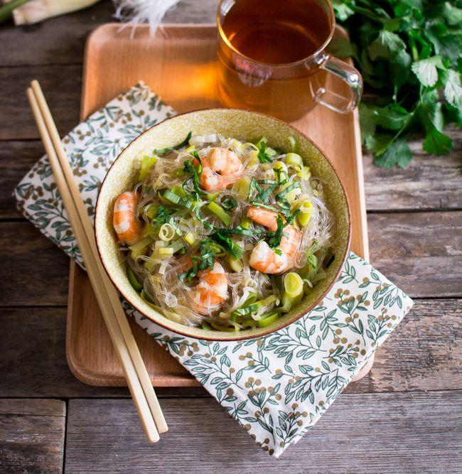 Faux «One pot pasta» : Vermicelles, crevettes, bouillon citronnelle et gingembre