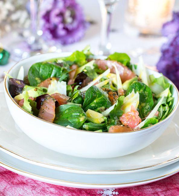 Salade simple, fraiche et légère pour repas de fêtes