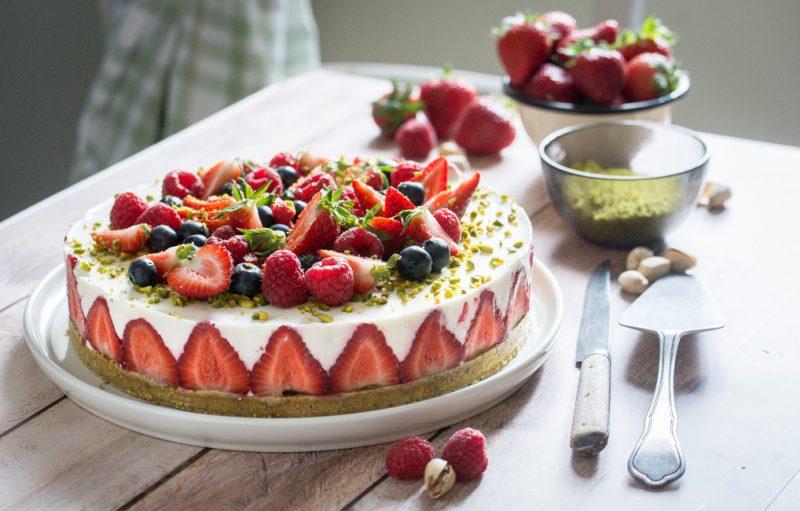 Cheesecake (sans cuisson) fraises et pistache | Jujube en cuisine