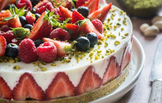 Cheesecake fraises et pistache (et chocolat blanc)